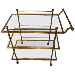 Midcentury Gilt Faux Bamboo Three Tier Bar Cart