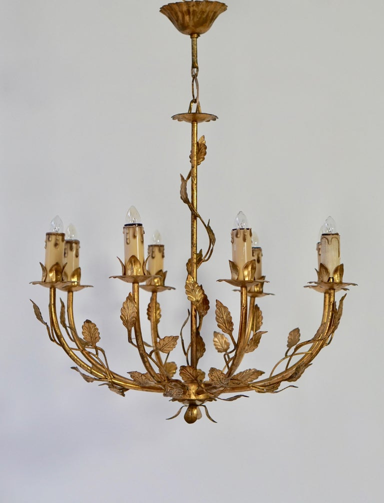 Midcentury Gilt Metal Chandelier In Good Condition For Sale In Antwerp, BE