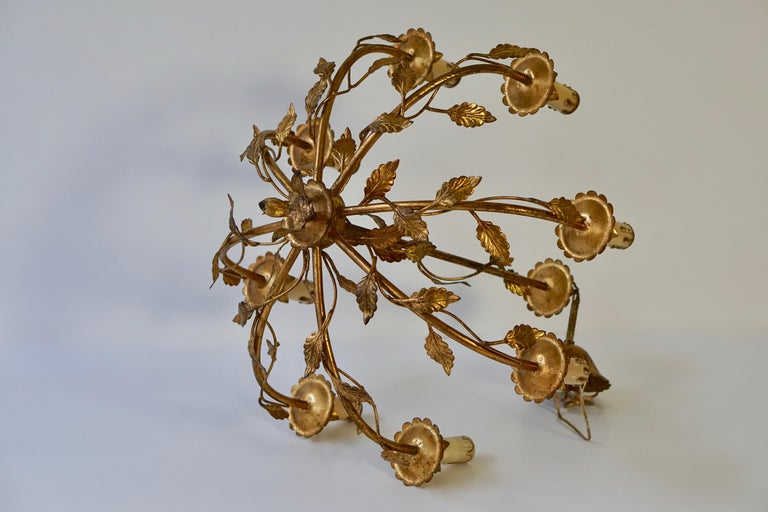 20th Century Midcentury Gilt Metal Chandelier For Sale