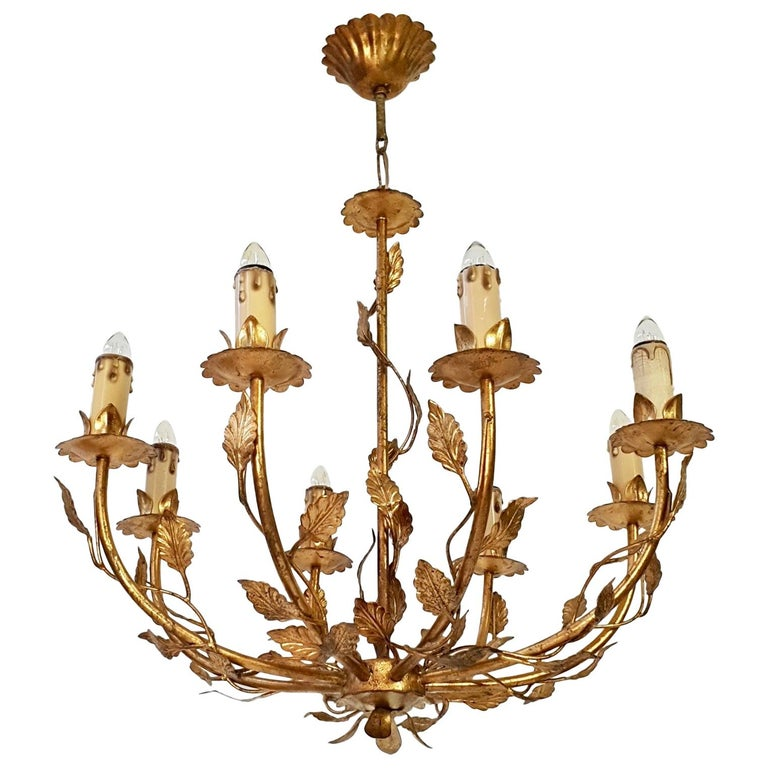 Midcentury Gilt Metal Chandelier For Sale