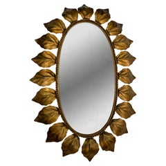 Midcentury Gilt Metal Sunburst Mirror