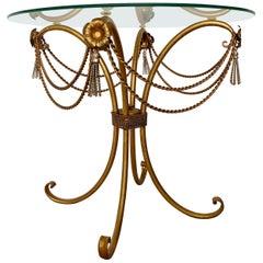 Mid Century Gilt Rope and Tassel Coffee Table
