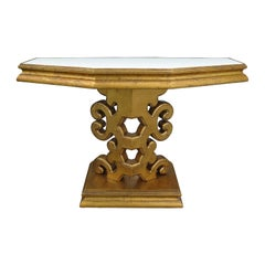 Mid-20th Century Giltwood Mirrored Top Console, in the Style of Grosfeld House