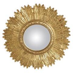 Midcentury Giltwood Sunburst Frame Convex Wall Mirror