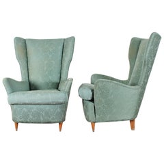 Midcentury Gio Ponti for ISA Pair of Armchairs Green Fabric, Italy, 1950s
