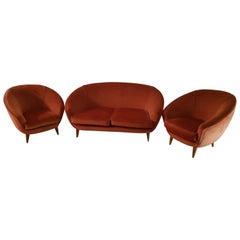 Midcentury Curved Sofà by Giò Ponti, Coral Velvet Armchairs, 1950. Set of 3