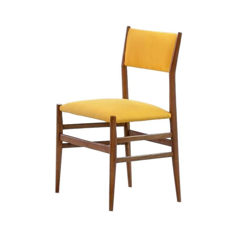 Mid-Century Modern Midcentury Gio Ponti Set of Twelve Leggera by Cassina Wood Linen Italian Chairs For Sale