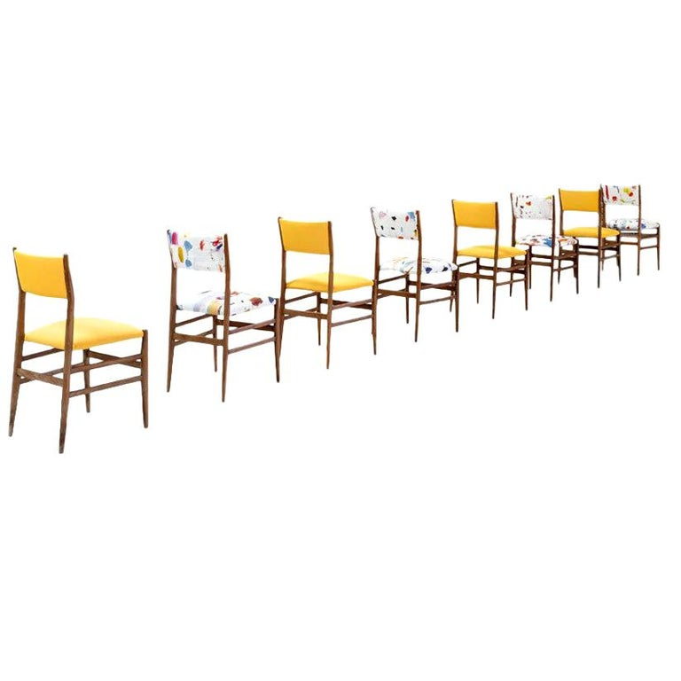 Midcentury Gio Ponti Set of Twelve Leggera by Cassina Wood Linen Italian Chairs For Sale