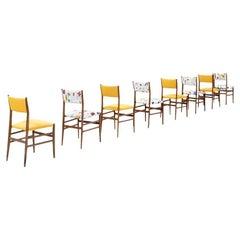 Midcentury Gio Ponti Set of Twelve Leggera by Cassina Wood Linen Italian Chairs
