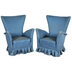 Midcentury Gio Ponti Style Blue Fabric Armchair, Set of 2, 1950s, Italy