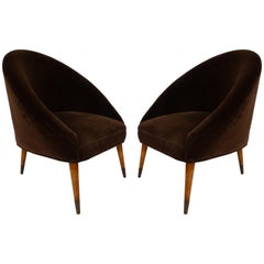 Midcentury Gio Ponti Style Club Chairs, Pair