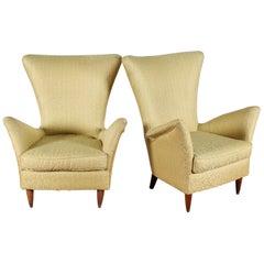 Midcentury Gio Ponti Style Gold Yellow Fabric Armchair, Set of 2, 1950s, Italy