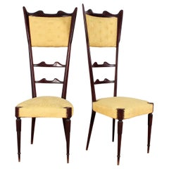 Midcentury Gio Ponti Style High Espalier Dining Chairs Set of 2, 1950s, Italy