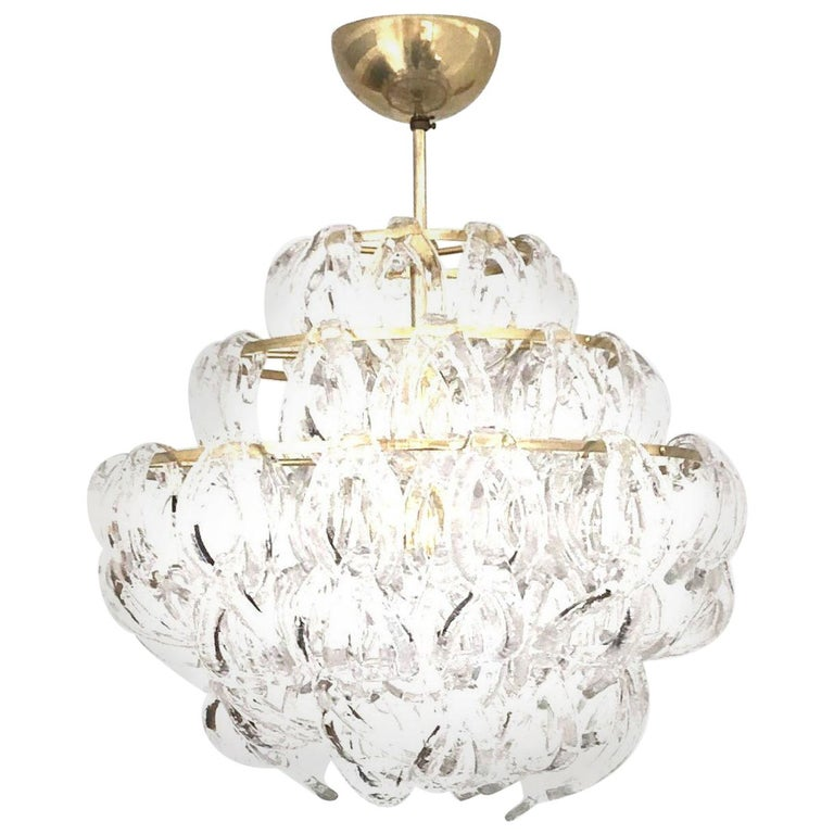 Midcentury Giogali Murano Glass Chandelier by Angelo Mangiarotti, 1970s For Sale