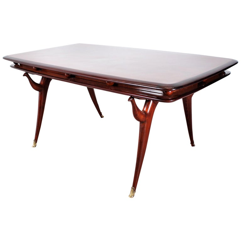 Midcentury Giuseppe Anzani Brown Rectangular Wooden Table, Italy, 1950 For Sale