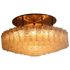 Midcentury Glass and Brass Flush Mount Chandelier by Doria Germany, 1960s
