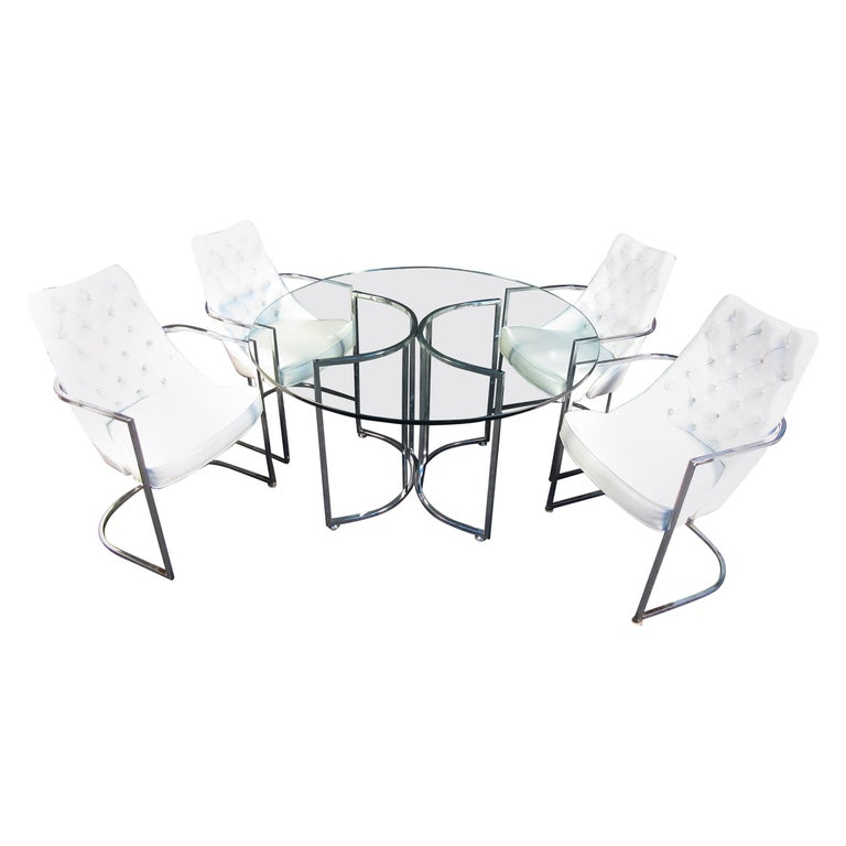 Midcentury Glass and Chrome Dining Set For Sale
