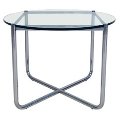 Midcentury Glass and Chrome Side Table by Mies van der Rohe for Knoll circa 1970
