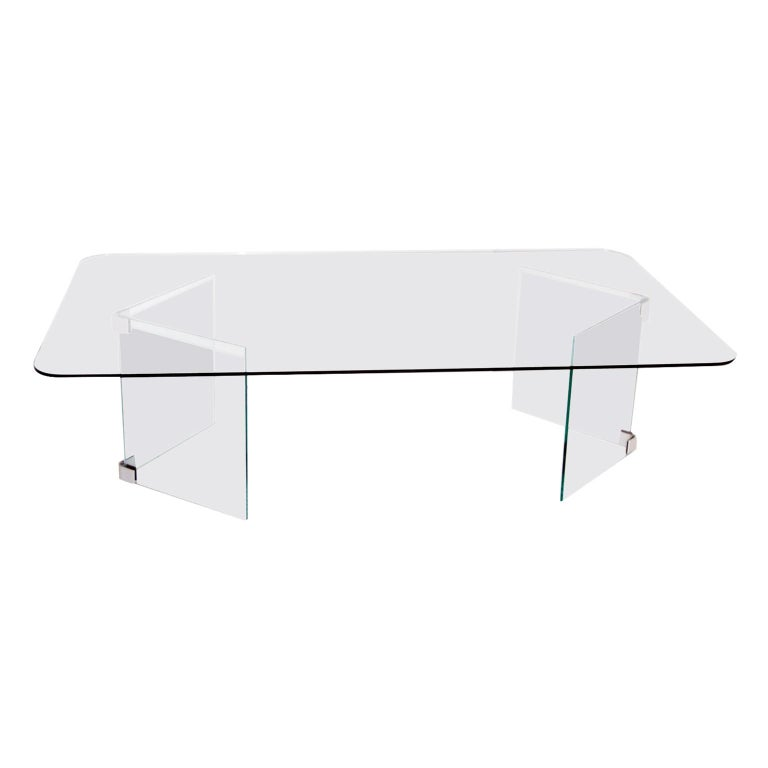 Midcentury Glass and Nickle-Plated Coffee Table Pace For Sale