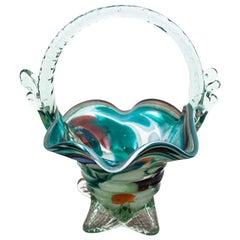 Midcentury Glass Basket, 1960s