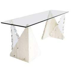 Midcentury Glass Console Table with Limestone and Lucite Bases