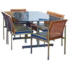 Midcentury Glass Dining Table and 6 Chairs by Lane Attributed to Paul McCobb