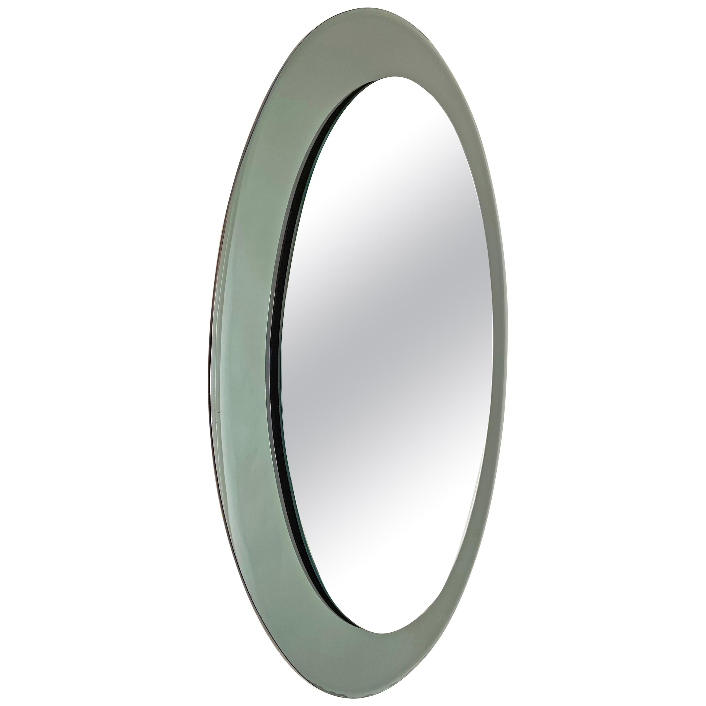 Midcentury Glass Framed Oval Wall Mirror Attributed to Cristal Art, Italy, 1960s