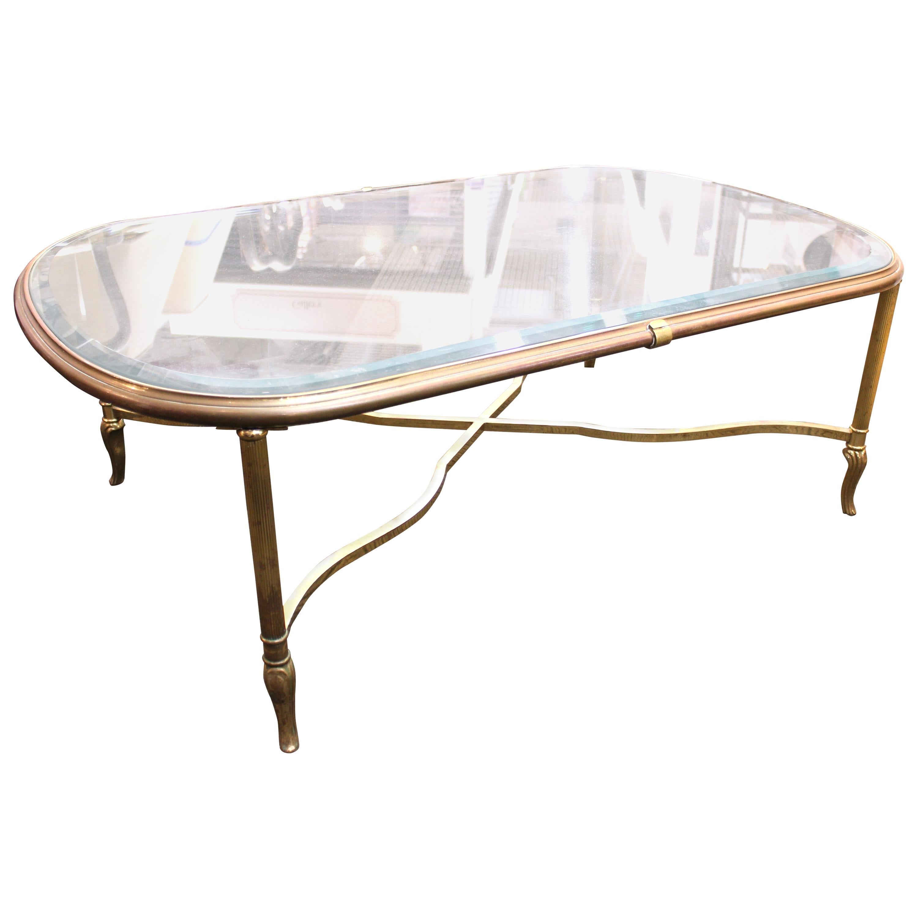Midcentury Glass Top Coffee Table with Classical Gilt Metal Frame