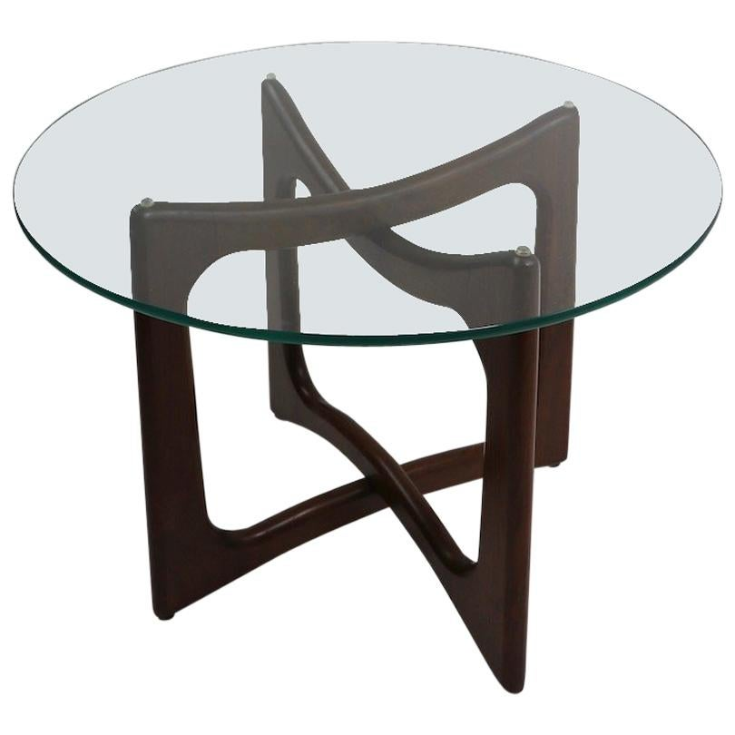 Mid Century Glass Top End Table with Sculpted Wood Base by Pearsall