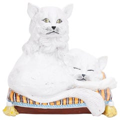 Midcentury Glazed Terracotta Two Cats on a Pillow