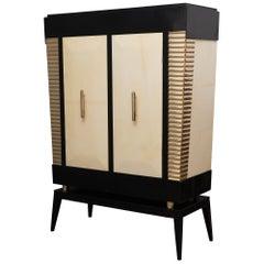 Midcentury Goatskin and Brass Italian Sideboard or Drybar, 1950
