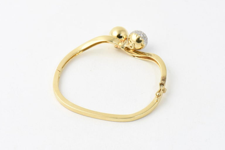 Women's Midcentury Gold and Pave Diamond Bypass Ball Bangle Bracelet For Sale