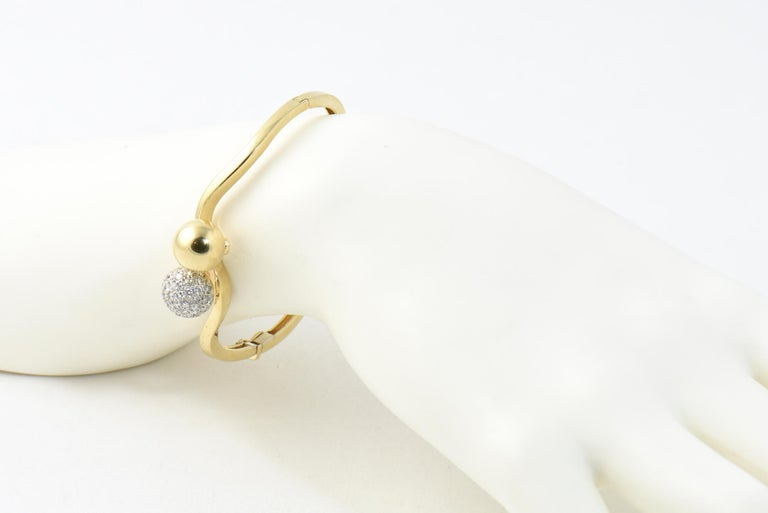 Midcentury Gold and Pave Diamond Bypass Ball Bangle Bracelet For Sale 3