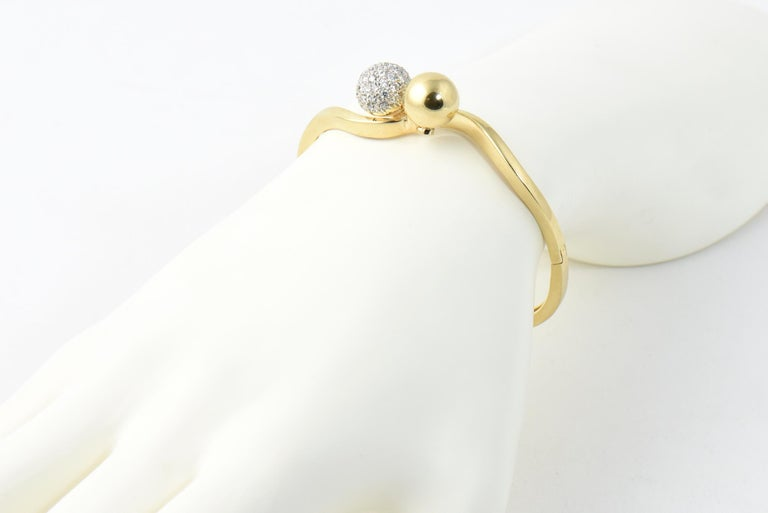 Midcentury Gold and Pave Diamond Bypass Ball Bangle Bracelet For Sale 4