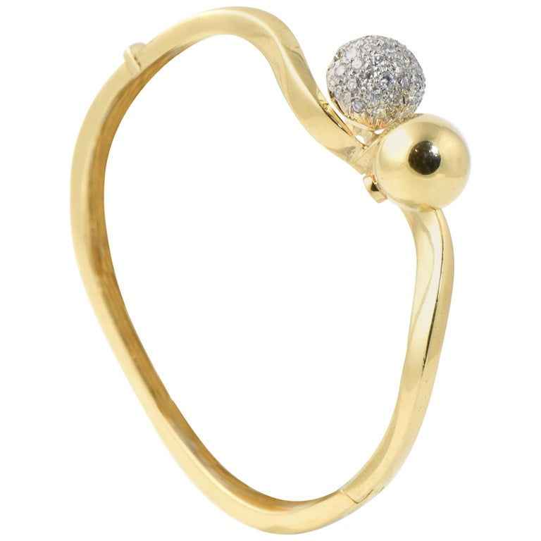 Midcentury Gold and Pave Diamond Bypass Ball Bangle Bracelet For Sale
