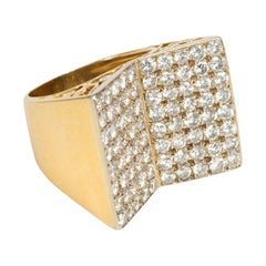 Midcentury Gold and Pavé Diamond Ring of Inverted Double Plaque Design