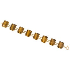 Midcentury Gold and Rectangular Citrine Link Bracelet