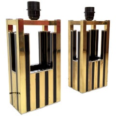 Midcentury Gold Brass Black Emanel Pair of Table Lamps by Willy Rizzo, 1970s