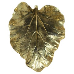 Midcentury Gold Brass Decorative Leaf Plate or Jewelry Dish
