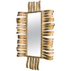 Midcentury Gold Brass Joaquin Rubio Camin Spanish Mirror Sculpture Signed, 1970s