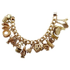 Midcentury Gold Charm Bracelet with 20 Travel Themed Charms