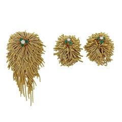 Midcentury Gold Diamond Emerald Ruby Sapphire Brooch Earrings Set