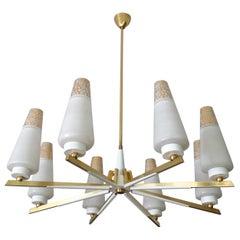 Midcentury Gold Glass Brass Chandelier Pendant Light, Stilnovo Gio Ponti Era