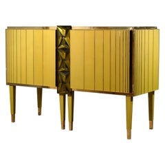 Midcentury Gold/Green Color Glass and Brass Sideboards, 2021