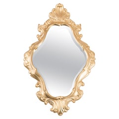 Midcentury Gold Mirror, Giltwood, Italy, 1960s