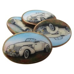 Midcentury Gold over Sterling Hand Painted Dusenberg Cufflinks