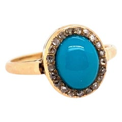 Midcentury Gold Ring Natural Persian Turquoise and Old Mine Diamond, circa 1950