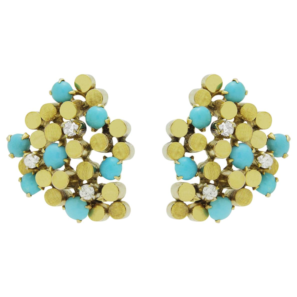 Midcentury, Gold, Turquoise and Diamond Ear Clips
