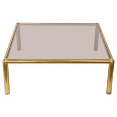 Midcentury Golden Brass and Smoked Glass Squared Italian Coffee Table, 1980s