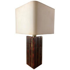 Midcentury Golden Brass and Tortoiseshell Enamel Table Lamp by BD Lumica, 1970s